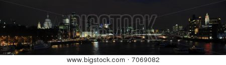 Panoramic View Of The Thames Skyline At Night