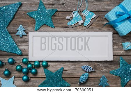 Merry Christmas Card In White And Turquoise Colores.
