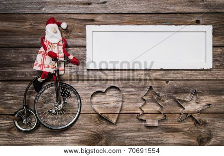 Christmas Card Or Advertising Sign With Red And White Decoration On Wood.