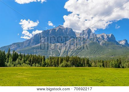 Mountains landscape from mountains pass. Rocky Mountains. Canada.