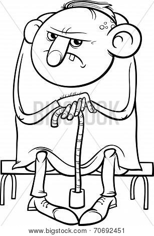 Grumpy Old Man Cartoon Coloring Page