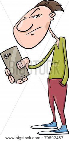 Guy Shoot With Smartphone Cartoon
