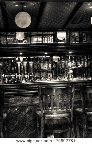 Pub black and white bar scene