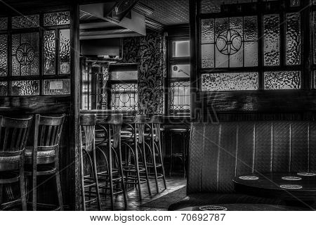 Pub black and white seating area