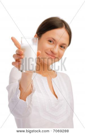 Young Woman Sipping Juice With A Straw