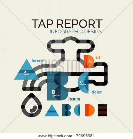 Vector water, tap or faucet infographic elements with A B C D E letters