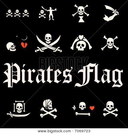 A set of pirate flags