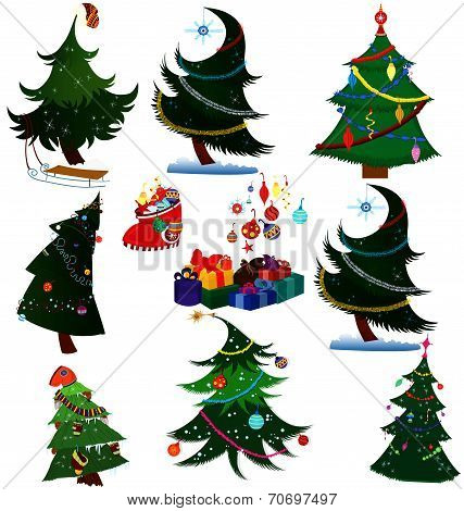 Cartoon Christmas Trees With Presents