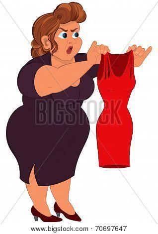 Cartoon Fat Woman In Purple Dress Holding Small Red Dress