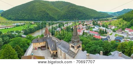 Orava castle yard and town panorama