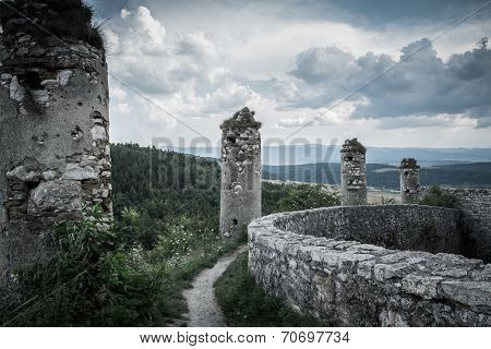 Walls of Spis Castle in Slovakia