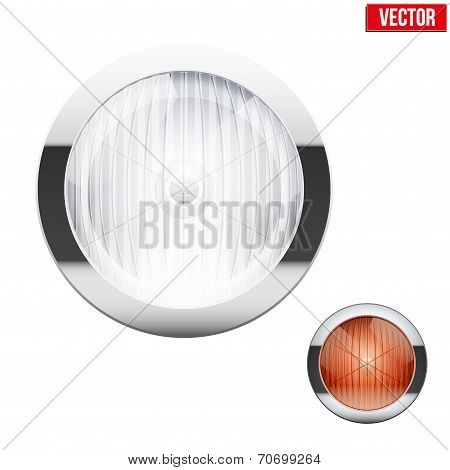 Round car headlight and turn indicator. Vintage Vector Illustration.