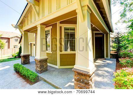 Walkout Basement Porch With Columns