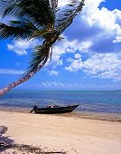 foto of west indies  - Fishing boat on shoreline Pigeon Point beach Tobago Trinidad and Tobago Caribbean West Indies - JPG