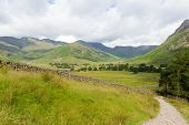 image of dungeon  - View of Langdale Valley Lake District Cumbria on walk to Blea Tarn from campsite by Old Dungeon Ghyll England UK - JPG