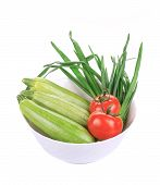 stock photo of marrow  - Bowl with marrows and tomatoes - JPG