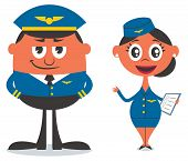 stock photo of air hostess  - Illustration of cartoon pilot and air hostess - JPG