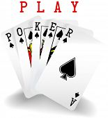 stock photo of poker hand  - Royal straight flush playing cards hand in spades word Poker - JPG