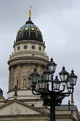 stock photo of dom  - The Franzosischer Dom or French Cathedral located in Berlin on the Gendarmenmarkt