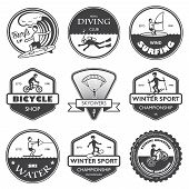 stock photo of raft  - Vacation travel extreme sports labels set of rafting cross country climbing and snowboard vector illustration - JPG