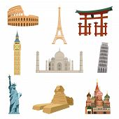 foto of world-famous  - World famous landmarks set of eiffel tower statue of liberty taj mahal isolated vector illustration - JPG