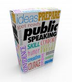 stock photo of public speaking  - Public Speaking words on a box for training to give a big speech - JPG