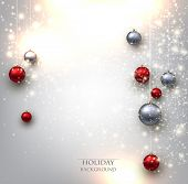 picture of glowing  - Elegant shiny Christmas background with baubles and place for text - JPG