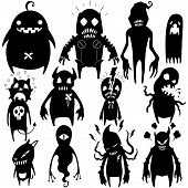 picture of funny ghost  - Little Monster characters vector collection set  02 - JPG