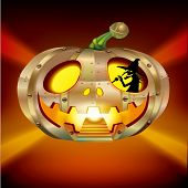 stock photo of movable  - Halloween design element of a witch driving a pumpkin UFO - JPG