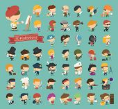 image of bartender  - Set of 50 professions eps10 vector format - JPG