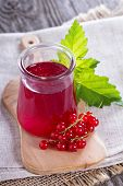 stock photo of jar jelly  - Red currant jelly in a jar with fresh berries