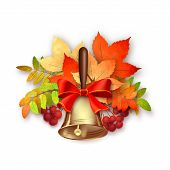 picture of rowan berry  - Autumn vector composition with fall leaves - JPG