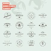 pic of food logo  - Set of vintage style elements for labels and badges for seafood - JPG