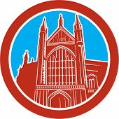image of church-of-england  - Illustration of the Winchester Cathedral a Church of England cathedral in Winchester Hampshire England set inside coval done in retro woodcut style - JPG