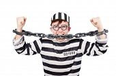 stock photo of inmate  - Funny prison inmate in concept - JPG