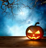 foto of scary haunted  - halloween pumpkin background - JPG