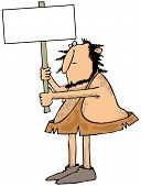 foto of caveman  - This illustration depicts a caveman holding up a blank sign - JPG