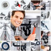 pic of plumbing  - Young plumber fixing a sink - JPG