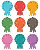 image of rosettes  - set of rosette decorations 9 variations isolated on white - JPG