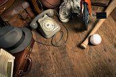 image of flea  - Group of assorted vintage items on hardwood floor at flea market - JPG