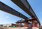 foto of girder  - The girders on the road construction site - JPG