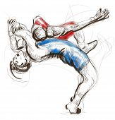 picture of wrestling  - An hand drawn full sized illustration  - JPG
