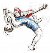 foto of wrestling  - An hand drawn full sized illustration  - JPG