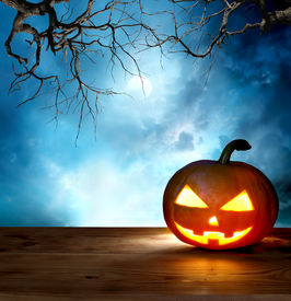 picture of scary haunted  - halloween pumpkin background - JPG