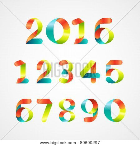 Set Of Colorful Ribbon Font. Numbers 0 To 9 .vector Illustration