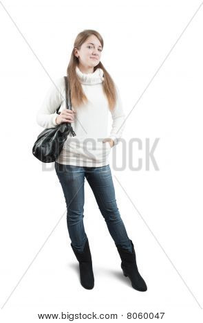 Teen Girl In Sweater With Bag Over White