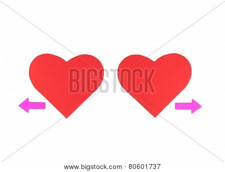 Two Red Paper Hearts With Two Arrows, Concept Relationships