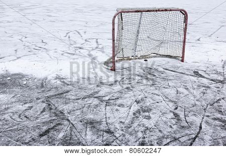 Pond Hockey Net and Snow