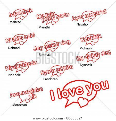 Word I Love You In Different Languages, Love Concept
