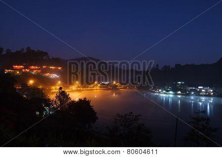 Lake Village In Morning At Ban Rak Thai Mae. Hong Son, Thailand